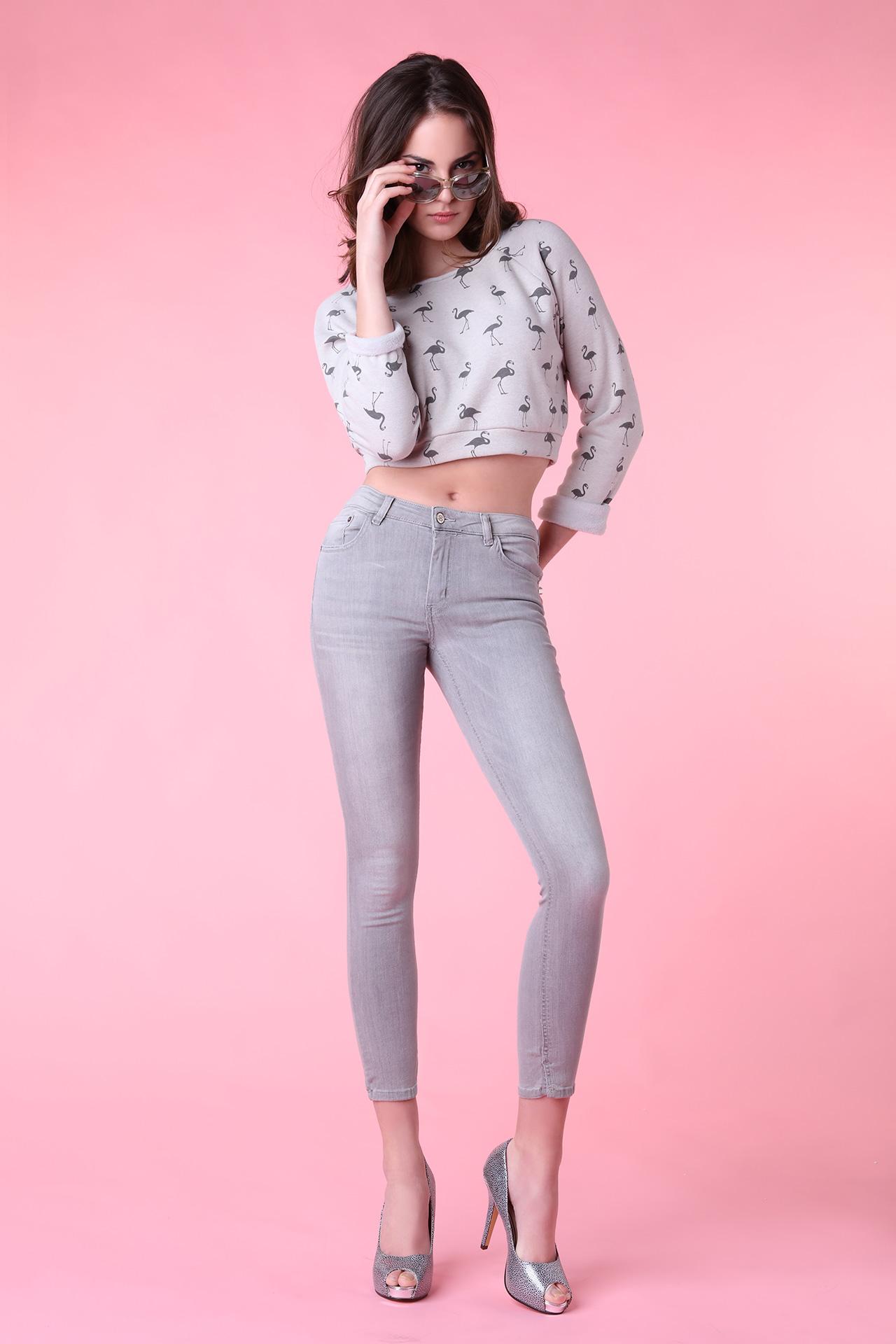 Sweatshirt court gris avec flamants (Look 1 en pied)