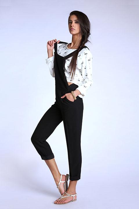 Sweatshirt court ivoire avec flamants (Look 4)