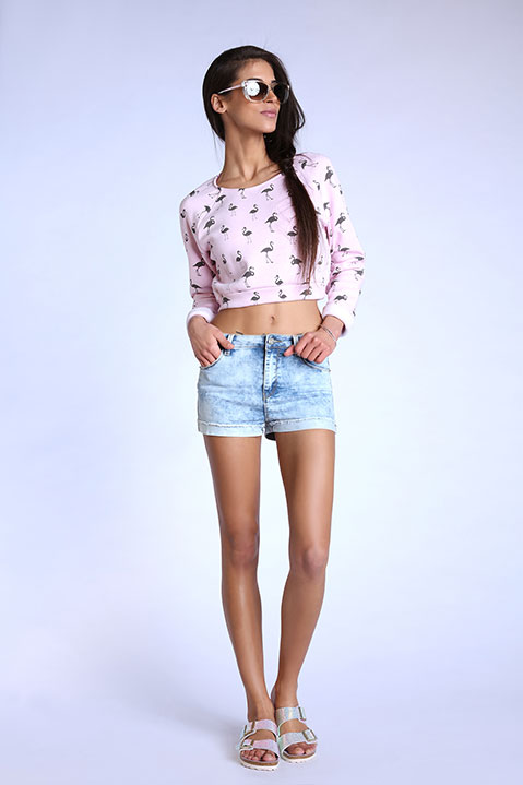 Sweat crop top rose