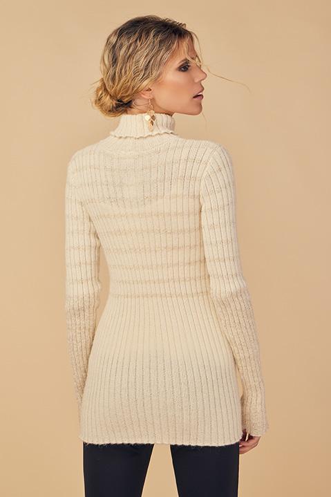 Pull femme col roule laine 100 pourcent alapaga ecru (Detail laine alpaga)