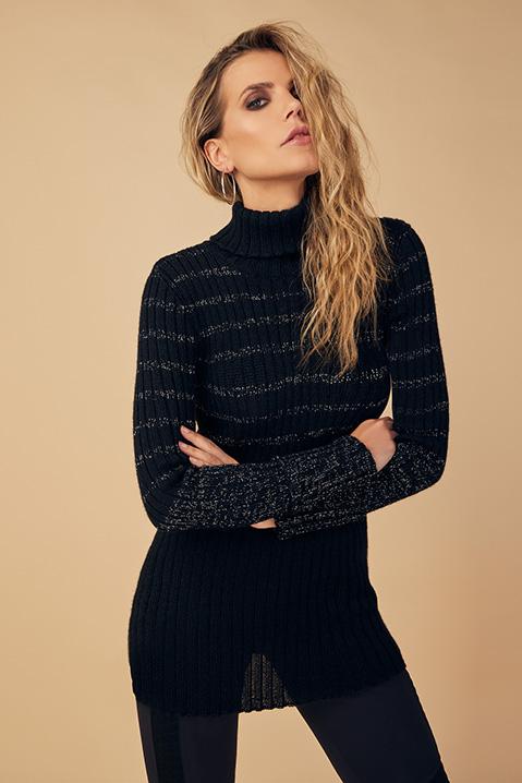Pull femme col roule laine 100 pourcent alapaga noir (Detail laine alpaga)