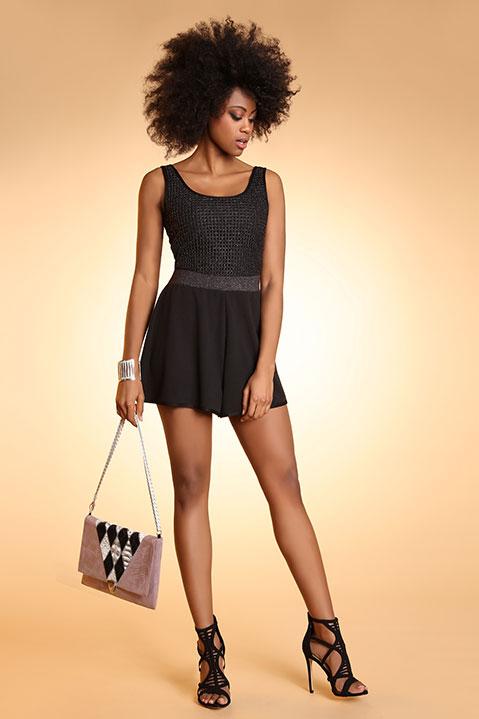 Top debardeur de soiree femme noir (vue en pied)