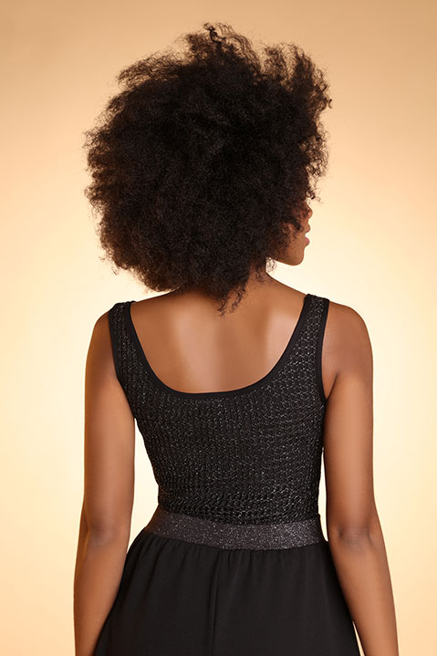 Top debardeur de soiree femme noir (vue de dos)