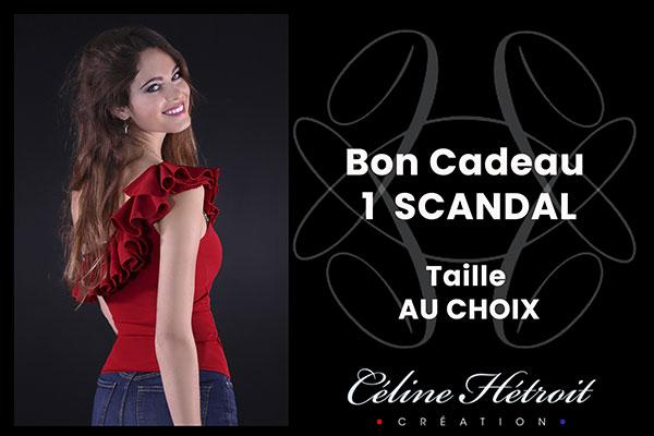 Carte Cadeau Céline Hétroit Création pour Top de soirée asymétrique rouge à volants
