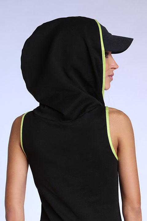 Top debardeur noir et vert pour femme avec capuche (Vue de dos)