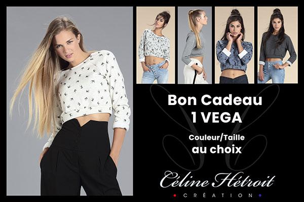 Carte Cadeau Céline Hétroit Création pour Sweat court Crop Top bleu imprimé