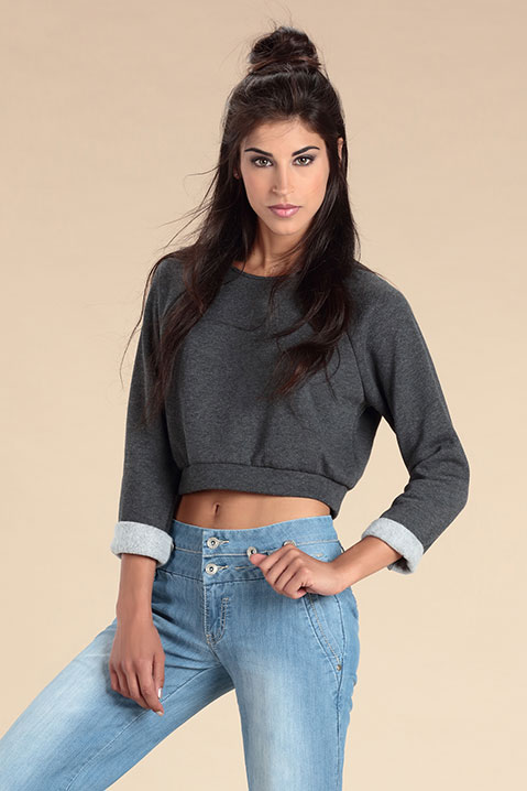 Sweat court Crop Top gris anthracite