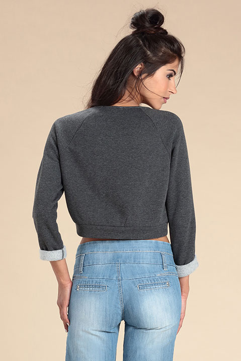 Sweat Crop Top Gris Anthracite (Vue de dos)