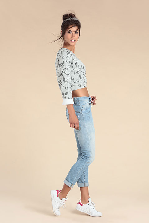 Sweat court Crop Top gris imprimé